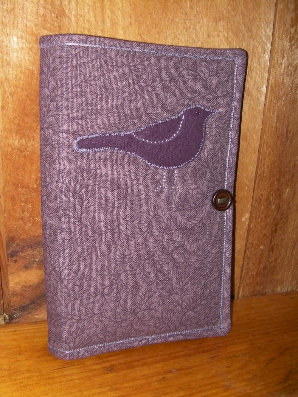 mauve bird notebook holder