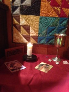 Imbolc altar - simple and focused on the flame.